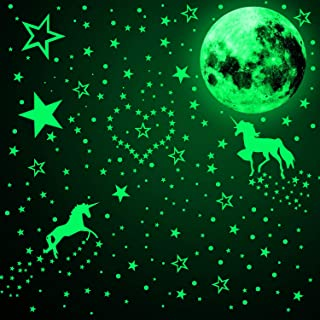 466 Pieces Glow in The Dark Unicorn Wall Decals Luminous...