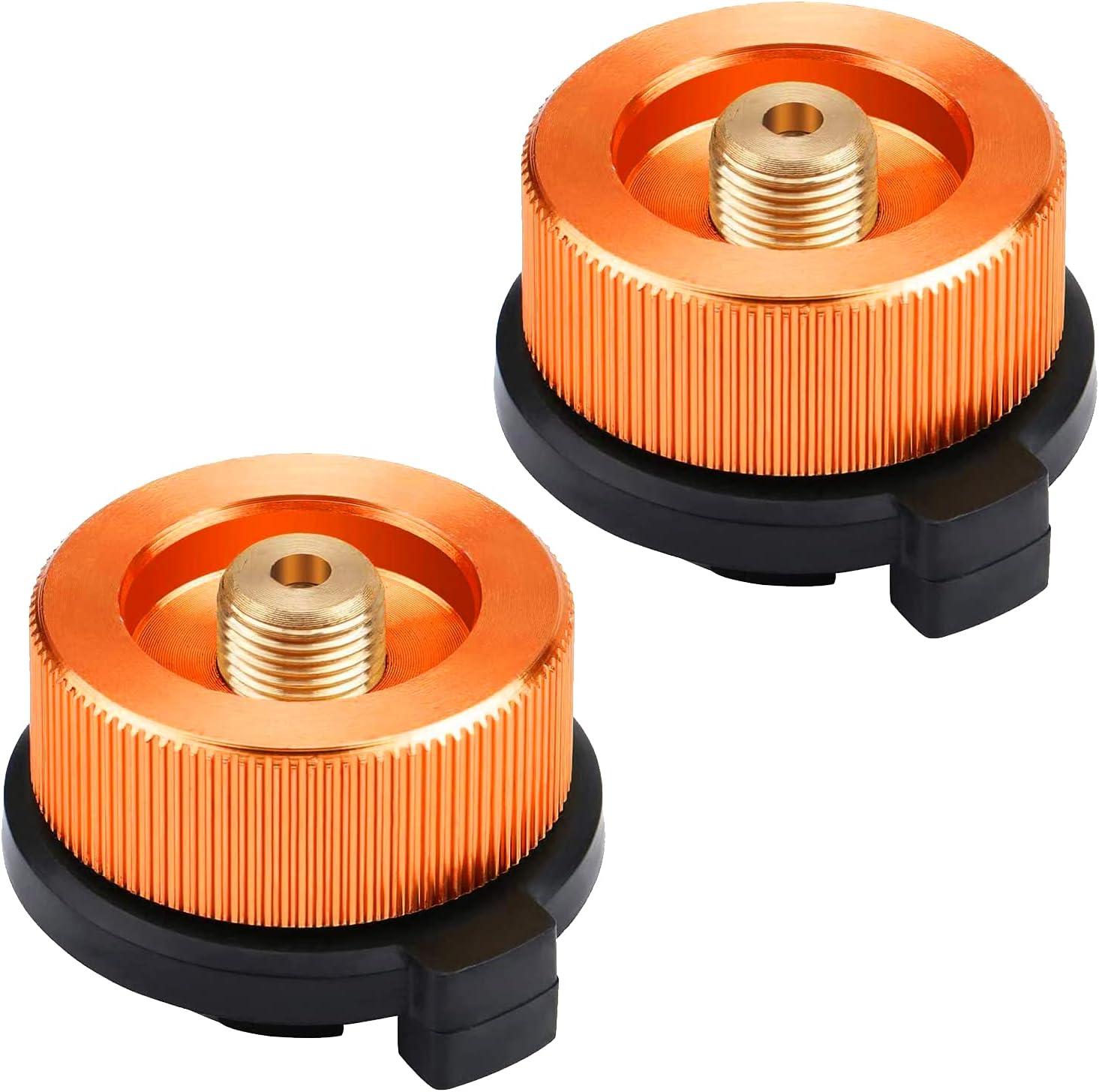 HUSZZM 2 Piezas Adaptador de Gas Adaptador de Estufa de Gas Conector Adaptador de Transferencia para Botella Gas para Acampar al Aire Libre Recipiente de Butano Atornillar Adaptador