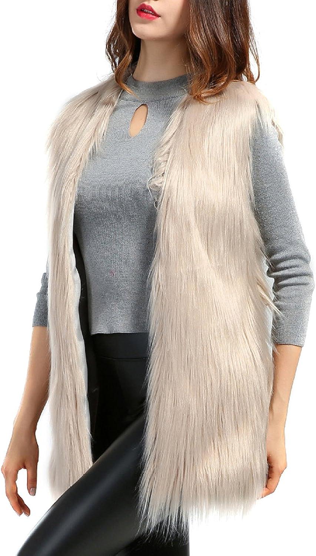 PERSUN Women's Faux fur Waistcoat Vests Sleeveless Jacket Outerwear