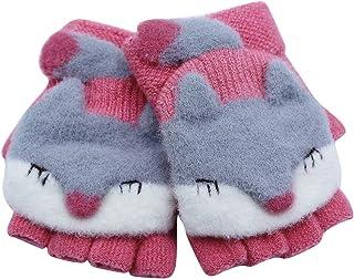 Girls Boys Gloves Kids Winter Soft Gloves Mitten Cartoon Fox Full Finger Gloves with Warm Mitten Cover