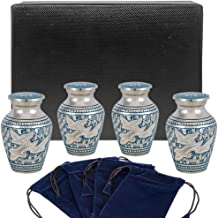 Wings of Love Small Keepsake Urns for Human Ashes - Set of 4 - Beautiful and Timeless Find Comfort Everytime You Look at These Mini High Quality Cremation Urns - with Case and 4 Velvet Bags