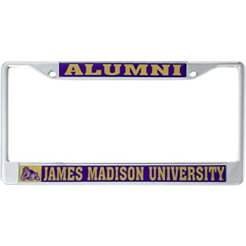 Rico Industries NCAA James Madison Dukes Bling Chrome License Plate Frame with Glitter Accent