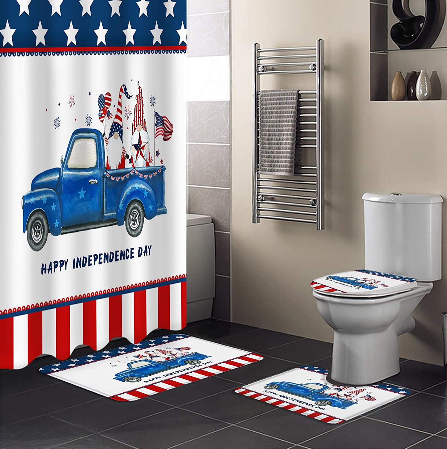 4 Piece Shower Curtain Max 40% OFF Daily bargain sale Sets Independence Truck Day Cute Dwarf Am