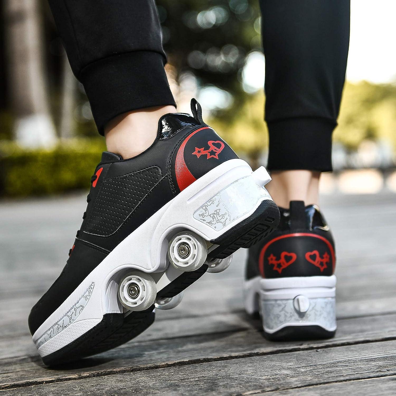 JZIYH Patins A roulettes Reglables Rollers en Ligne pour Enfants Walking Skates pour Hommes Femmes Deform Wheels Skates Kick Roller Shoes