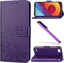 LG Q6 Case LG Q6 Cover EMAXELER Embossing Stylish Wallet Colour Cover Kickstand Credit Cards Slot Cash Protect Pockets PU Leather Flip Wallet For LG Q6 Clover Purple