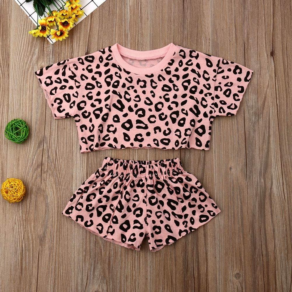 Pantalones Cortos de algod/ón 2 Piezas para ni/ñas de 0 a 5 a/ños Conjunto de Ropa para ni/ñas con Estampado de Leopardo y Camiseta