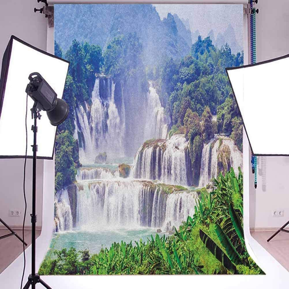 8x12 FT Nature Vinyl Photography Background Backdrops,Waterfall Exotic Tropical Leaves Natural Swimming Pool Water Picture Background for Photo Backdrop Studio Props Photo Backdrop Wall