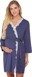 Ekouaer Women's Labor/Delivery/Nursing Robe Maternity Sleepwear, Hospital Nightgown Pregnancy Sleepshirts for Breastfeeding
