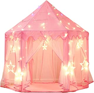 Best Sumbababy Princess Castle Tent for Girls Fairy Play Tents for Kids Hexagon Playhouse with Large Star Lights Toys for Children or Toddlers Indoor or Outdoor Games (Pink) Review