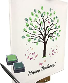 Lienzo de cumpleaños–diseño de árbol–como Libro de visitas para huellas dactilares (40x 50cm, incluye lápiz + Tampón)