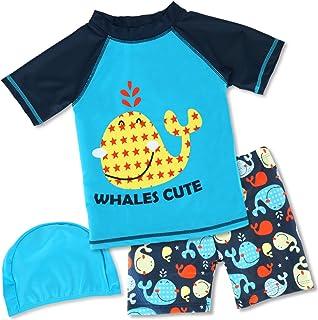 طقم ملابس سباحة راش جارد مكون من قطعتين للأولاد وطقم سباحة للوقاية من أشعة الشمس بعامل حماية من أشعة الشمس 50+