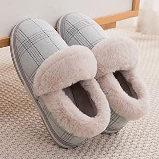 Winter Home Warm Bagged Plush Cotton Slippers-Comfortable Indoor Thick Bottom Non-Slip TPR Couple Men's Home,Green,36
