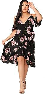 c0d4dcdecceb Milumia Women's Plus Size Cold Shoulder Floral Slit Hem Tropical Summer Maxi  Dress
