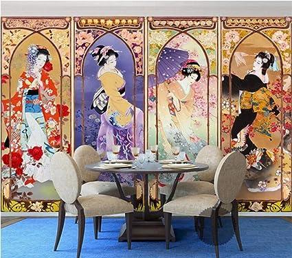Rureng Papier Peint En Soie Belle Beaute Japonaise Peinture A L Huile Quatre Ecrans Tv Fond Murales 3d Fond D Ecran 350x250cm Amazon Fr Bricolage