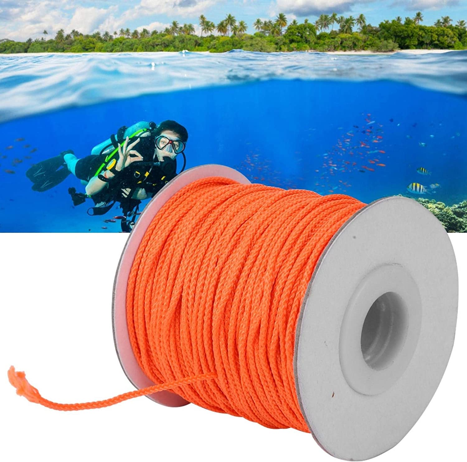 Nylon Diving Handle Line Strong Bearing Capacity Pulley Wheel Spool Tool Diving Spool Line Orange for Outdoor for Diving Diving Accessory