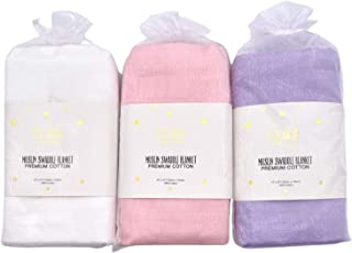 Cute New York Cotton Muslin Swaddle Blankets, Set of 3,...