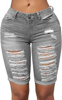 Women's Distressed Ripped Mid Length Rolled Hem Shorts Jeans