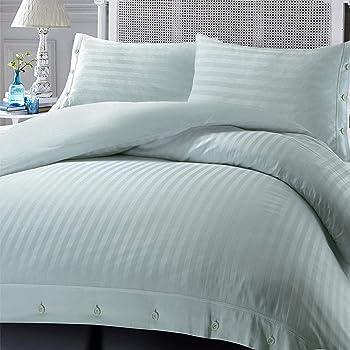 Nimsay Home - Juego de funda de edredón y funda de almohada (100% algodón egipcio, satén), diseño de rayas, algodón egipcio, Plateado, set de funda nórdica para cama doble: Amazon.es: Hogar