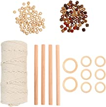 Bestonzon 1 Set Macrame Kit with Cotton Cord Wooden Sticks Hoops Rings Wooden Beads Macrame Supplies for Adults Beginners ...
