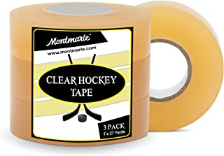 MONTMARLE Clear Extra Strength Hockey Tape (3 Pack) | 1' x 27 Yards Per Roll | Easy Stretch & Easy Rip with Strong Waterproof & Snow Proof Adhesive for Shins, Pads & Sports Equipment | Pro Quality