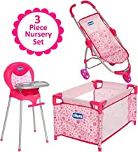 Baby Doll Furniture Gift Set, For Up To 18-Inch Baby Dolls, 3 Piece Mega Baby Doll Play Set, Baby Doll Stroller, Baby Doll High Chair and Baby Doll Playard Included, For 3 Year Old Girls and Up