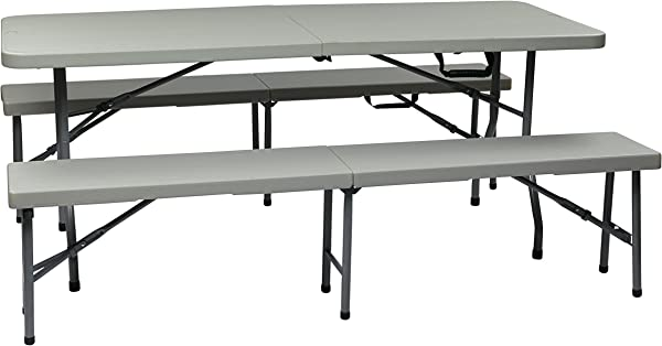 Office Star Resin 3 Piece Folding Bench And Table Set 2 Benches And 6 X 2 5 Feet Table