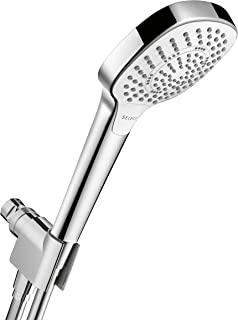 hansgrohe Croma Select E Easy Install 4-inch Handheld Shower Head Set Modern 3 Spray SoftRain, IntenseRain, Pulsating Massage Easy Clean with QuickClean with Hose in Chrome, 2 GPM, 04568000