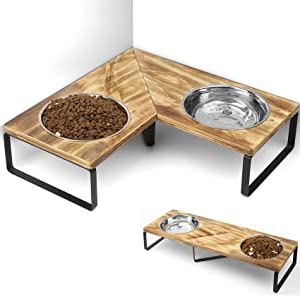 Elevated Cat Bowls Raised Cat Food Bowl Small Dog Bowls Stand with Double Stainless Steel Bowls Pet Feeder for Water and Food Bowls to Cats Small Dogs Carbonized Black
