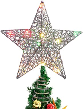 STOBOK Christmas Tree Topper,Christmas Decorations Colorful Lighted Xmas Tree Star for Christmas Tree Ornament Party Decorati