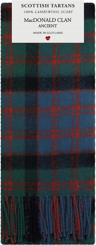 MacDonald Clan Ancient Tartan 100% Lambswool Scarf Made in Scotland