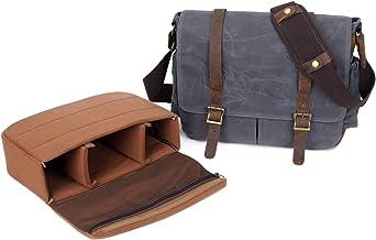 Neuleben Wasserdicht Kameratasche Fototasche für Spiegelreflexkameras Objektiv Camera Bag Vintage Aktentasche Messenger Bag aus Canvas Leder Grau