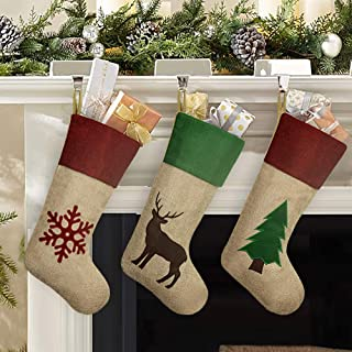 Ivenf Christmas Stockings, 3 Pcs 18 inches Large Green Red Burlap Feel with Tree Reindeer Snowflake Stockings, for Family Holiday Xmas Party Decorations