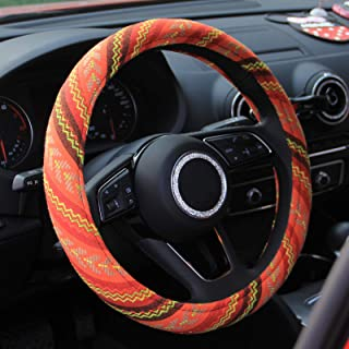 Best 15 inch New Baja Blanket Car Steering Wheel Cover Universal Fit Most Cars Automotive Orange Ethnic Style Coarse Flax Cloth Review