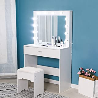 Riforla Vanity Set with Lighted Mirror, Makeup Vanity Dressing Table Dresser Desk with Large Drawer for Bedroom, White Bed...
