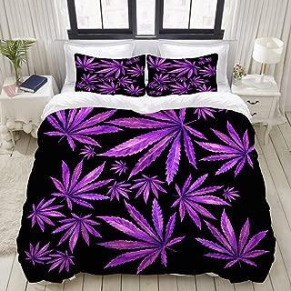 "Mokale Bedding Duvet Cover 3 Piece Set - Purple Marijuana Cannabis Leaf Print - Decorative Hotel Dorm Comforter Cover with 2 Pollow Shams - King 104""X90"""