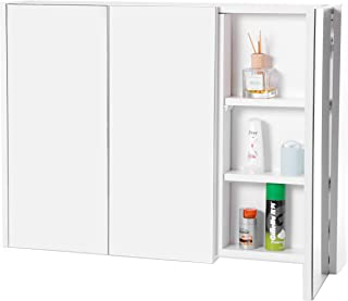 Basicwise QI003456 3 Shelves White Wall Mounted Bathroom/Powder Room Mirrored Door Vanity Cabinet Medicine Chest,