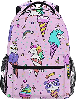 QMIN Mochila con diseño de unicornio arcoíris y unicornio, ideal para viajes y colegios, con cremallera, para llevar a la escuela, para senderismo, camping, para niños, niñas, mujeres y hombres