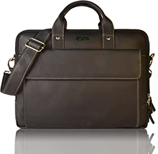 Leaderachi Black 100% Genuine Leather 15 inch Laptop Messenger Briefcase Bag [ SAO Paulo ] Summer Sale Special