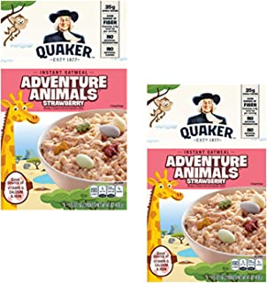 Quaker Instant Oatmeal, Hot Cereal Adventure Animals Strawberry 2 Pack