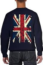 Vintage Distressed Great Britain Flag Back Print Crewneck Sweater