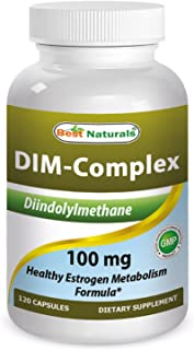 Best Naturals DIM Supplement 100 mg 120 Capsules, DIM for Estrogen Metabolism & Balance, For Menopause, Body Building, PCOS & Hormonal Acne
