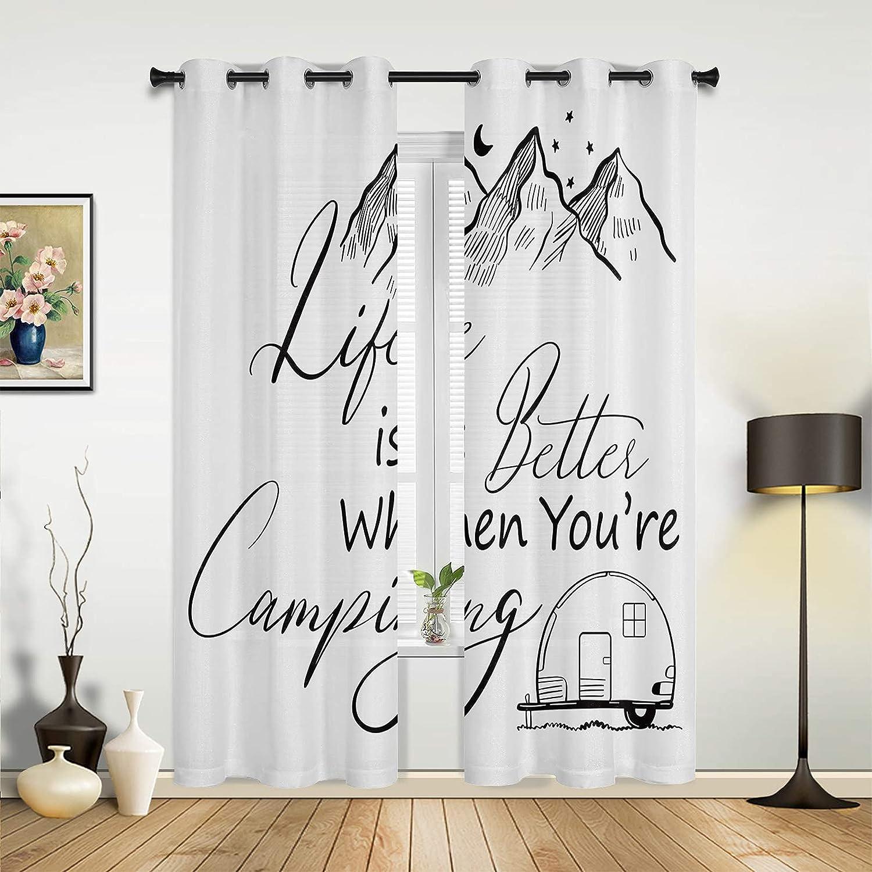 Window San Jose Mall Price reduction Curtain Panels Mountain Moon Camping Trailer Star B White