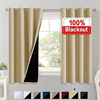 100% Blackout Curtains for Living Room Double Layer Faux Silk Curtains Room Darkening Thermal Insulated Energy Saving Grommet Window Treatment Panels (Wheat, 52 by 63-inch)