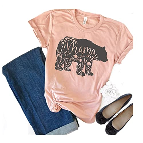 3e4f8d5d0 Floral Mama Bear T Shirt Printer for Mom Short Sleeve Shirts Mother's Gift