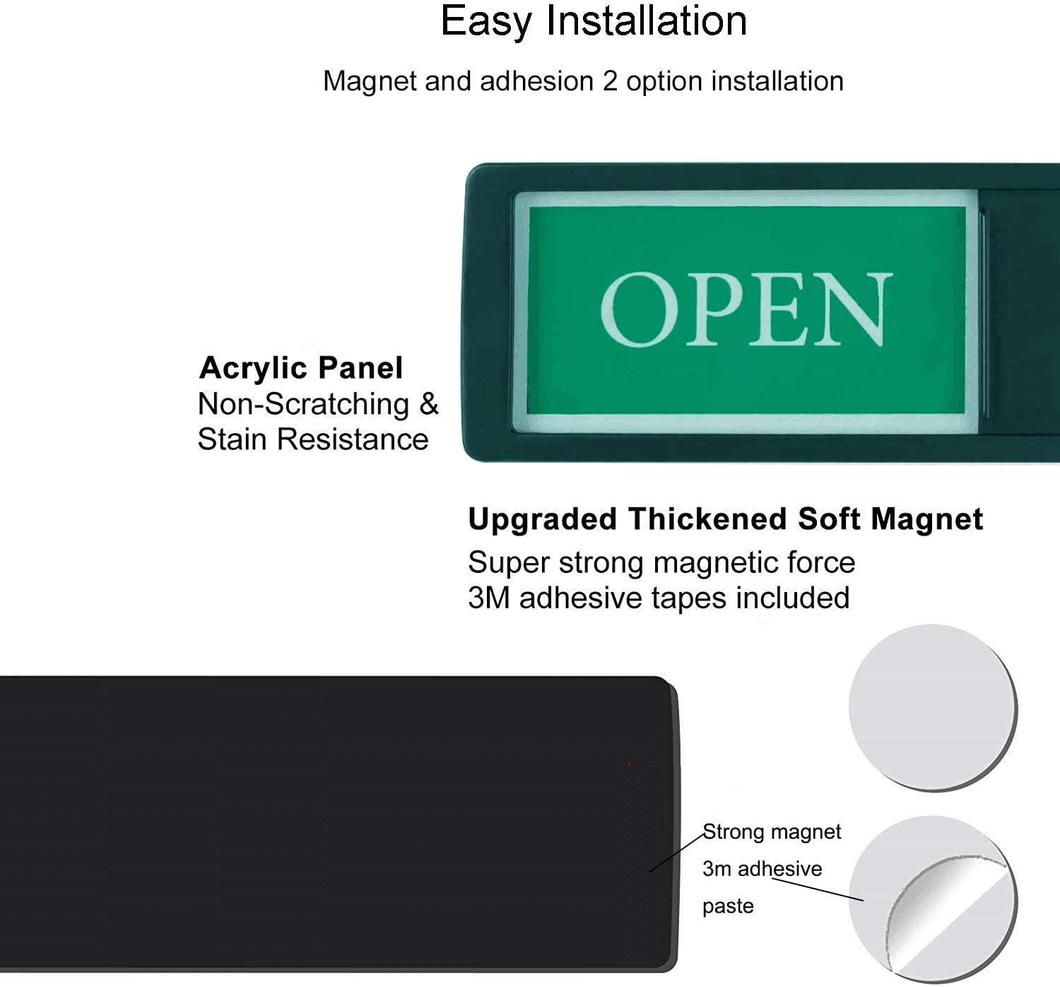 Bold /& Colored Text -Silver Open Closed Sign for Business Door Open Sign Slide Door Indicator for Office Store Private Studio Privacy Slider Door Indicator with Clear