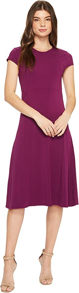 Cotton Modal Spandex Jersey Cap Sleeve Fit and Flare Dress