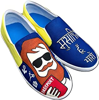 FUNKY N TRENDY Musafir Hu Yaroo Travel Theme Hand Painted Waterproof Canvas Casual Shoes for Men