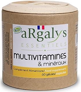 Multivitaminas y minerales | 17 Nutrientes | Magnesio + Vitaminas B12. D3 y A. B. E. K1 y H | Yodo. Selenio | Hombre/Mujer | Vegan | 60 cápsulas made in France | Argalys Essentiels
