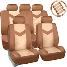 FH Group PU021BEIGETAN-COMBO Seat Cover (Premium Synthetic Leather with Accessories Combo Set Airbag Compatible Beige/Tan)