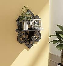 Home Sparkle Carved Wall Shelf Engineered Wood (Black)